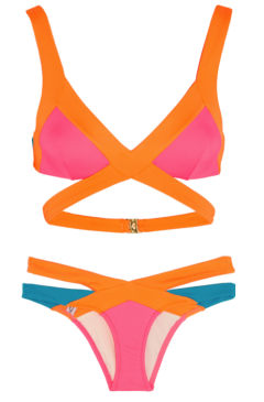 "Agent Provocateur ""Mazzy"" Bikini Top, $220.00, and Bottom, $170.00, in Popstar"