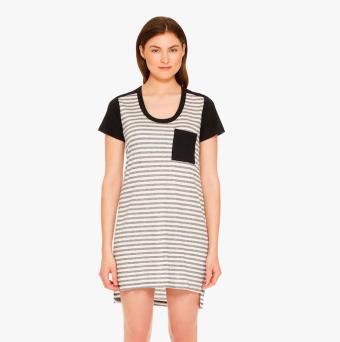 """Alexis Mera """"Dorchester"""" T-Shirt Dress in Grey Heather Stripe"""