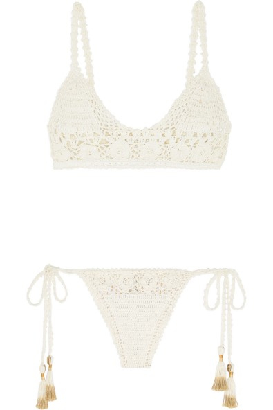 She Made Me's Crochet Cotton Triangle Bikini in Off-White, $195.00