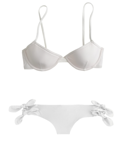 J.Crew's Underwire Bikini Top ($50.00) and Double-Bow Hipster Bikini Bottom ($40.00) in White
