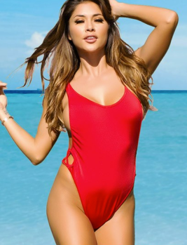 "DOLL Swimwear ""LA"" High Cut One-Piece Swimsuit in Solid Red, $59.95"