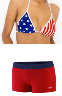 American Apparel's U.S Flag Print Nylon Tricot Triangle Bikini Top ($29.00) and Speedo's Guard Swim Short in Red ($38.00)