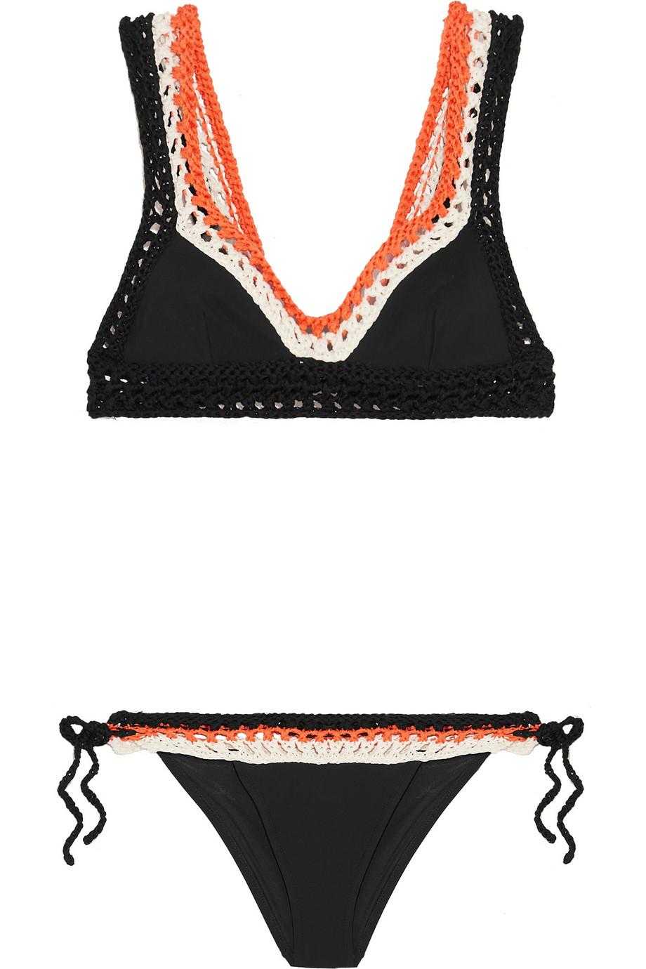 Emilio Pucci Crocheted Cotton Triangle Bikini black orange white colorblocked