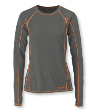 L.L.Bean Polartec Power Dry Stretch Base Layer, Lightweight Long-Sleeve Crew in Shale Grey