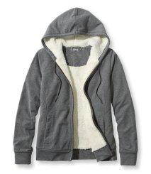 L.L.Bean Ultrasoft Sherpa-Lined Hoodie in Dark Grey Heather