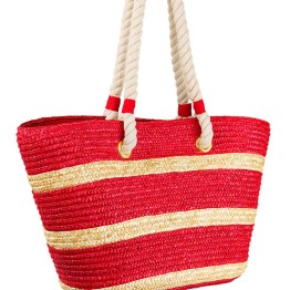 Bikini.com Straw Tote with Rope Handle in Red:Tan Stripes ($45.00)