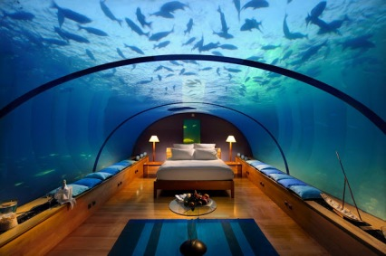 amazing underwater hotel room at Conrad Maldives Rangali Island Resort by Hilton Luxury Hotels