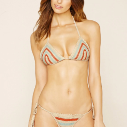 Forever21 Crochet Triangle Bikini Top ($17.90) and String Bikini Bottoms ($15.90) in Blush/Brick