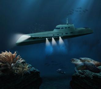 underwater hotel room in the Lovers Deep (Mile Low Club) Submarine, Caribbean