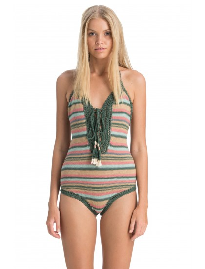 64d2bc8811 Knit Wit: 15 Crochet Swimsuits to Wear This Summer. She Made Me Dhari  Crochet One-Piece in Green Multicolor Stripe ...
