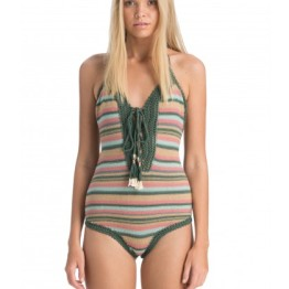 She Made Me Dhari Crochet One-Piece in Green Multicolor Stripe (AUD $168.00)