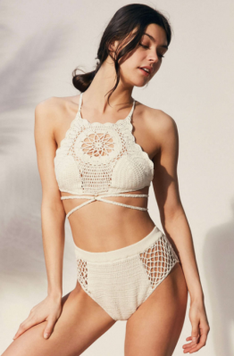 Somedays Lovin Daphne Crochet Bikini Top ($79.00) and High-Waist Bikini Bottom ($69.00) in Ivory
