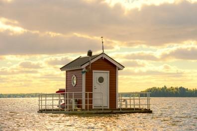 Utter Inn floating hotel with underwater bedroom, Vasteras, Sweden