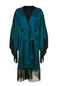 "Harlow & Fox Double-Layered Silk Satin ""Augusta"" Fringed Kimono in Teal I 9 Robes to Get Wrapped Up in This Fall, & Where We'd Wear Them I {un}covered"