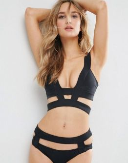 ASOS Neoprene Cut Out Caged Bikini Set in Black I 15 Trés Chic Little Black Bikinis Under $100 I {un}covered