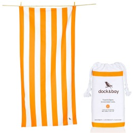 """Dock & Bay 35"""" x 78"""" Quick Dry Cabana Stripe Beach Towel in Orange I 18 Stylish, Oversized Beach Towels For Spreading Out This Summer I {un}covered"""