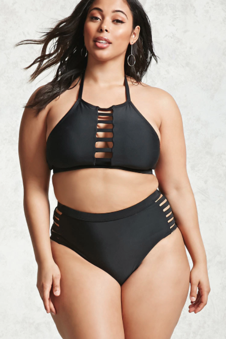 Forever21 Plus Size Cutout Bikini Top and Bottoms in Black I 15 Trés Chic Little Black Bikinis Under $100 I {un}covered