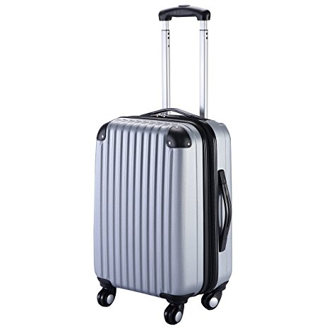 "Goplus GLOBALWAY Expandable 20"" ABS Carry-On Luggage Travel Bag Trolley Suitcase in Gray I Here's the Best Rolling Carry-On Luggage You Can Buy Right Now, According to Amazon I The Wander Life"