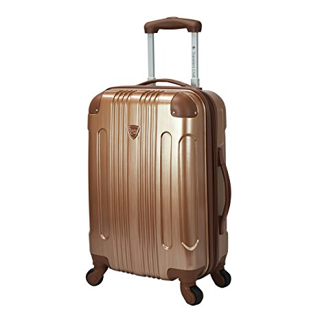 Travelers Club Luggage Polaris 20 Inch Met Hardside Expandable Carry-On Spinner in Copper I Here's the Best Rolling Carry-On Luggage You Can Buy Right Now, According to Amazon I The Wander Life