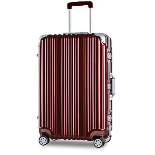 "Merax Travelhouse Aluminum Frame Luggage TSA Approved 20"" Suitcase in Wine Red I Here's the Best Rolling Carry-On Luggage You Can Buy Right Now, According to Amazon I The Wander Life"