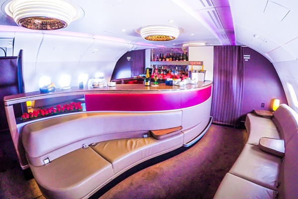 Qatar Airways First & Business Class Bar I Cocktails in the Clouds: These Are the Most Jaw-Dropping Sky Bars Around the World I The Wander Life