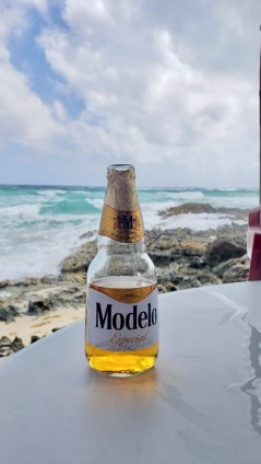 Cerveza with a view! At The Liquor Box, Cozumel, Mexico