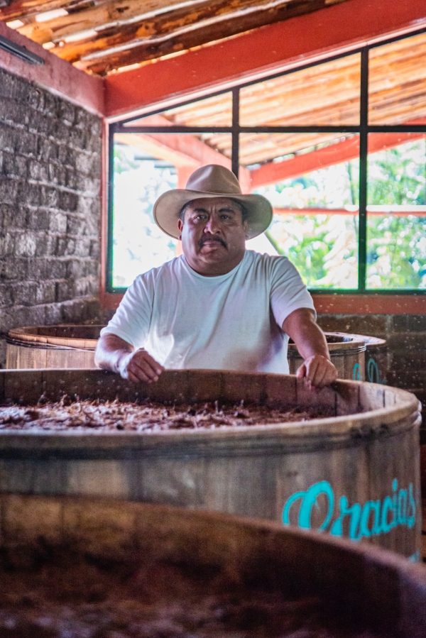 Best Things to Do, Eat & See NOW in Magical Oaxaca City, Mexico (January 2021/Maestro Mezcalero Oscar Hernández Santiago of Gracias a Dios Mezcal Palenque (Distillery) in Santiago Matlatán/ TravelingLamas.com / Photo by@travelinglamas